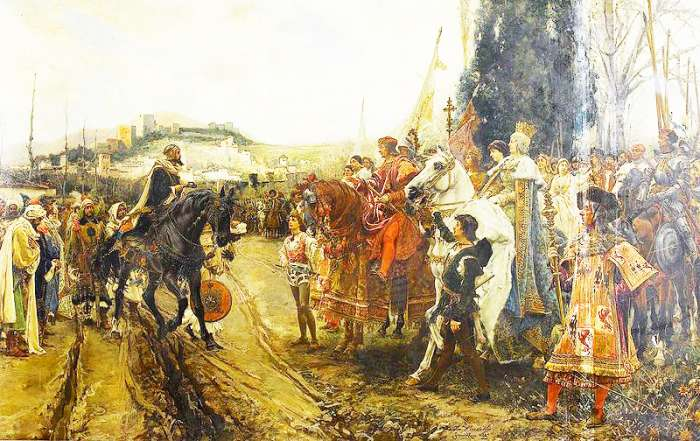 The capitulation of Granada, where the expansionism of Islam ended in Europe.